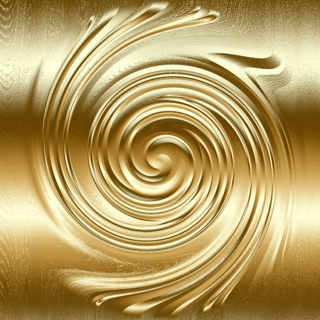 abstract spiral metal relief, gold metal helix to design Stock Photo