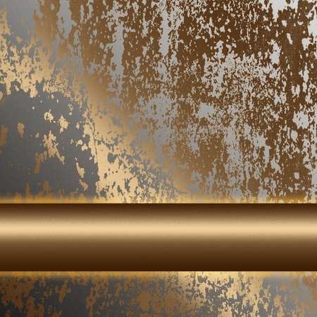 oxidized: old rusted metal surface with gold bar as background to insert text or design