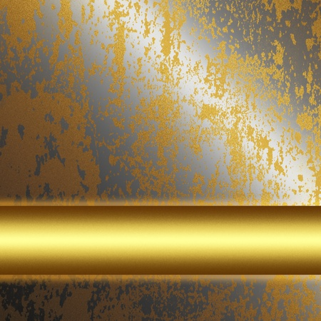 steel bar: old silver metal surface with gold bar as background to insert text or design  Stock Photo