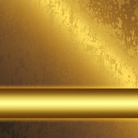 oxidized: gold metal surface with smooth bar as background to insert text or design