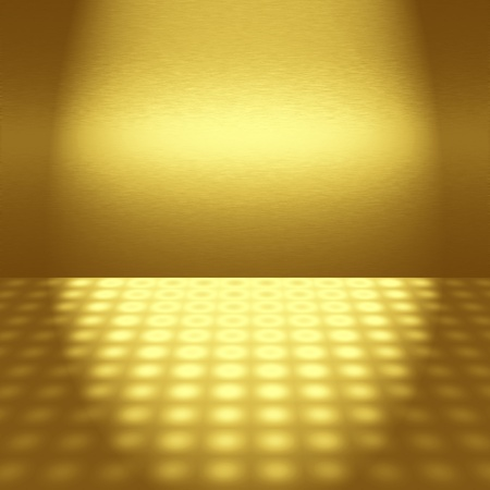 dance floor: empty gold disco scene with beam of light - to insert text or design Stock Photo