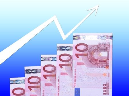euro banknotes steps with trend arrow on blue background to insert text or design photo