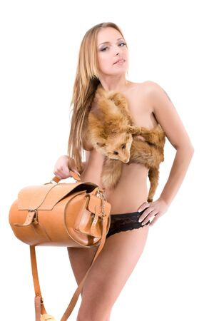 beauty fashion woman in fox fur with animal skin bag Stock Photo - 12309268
