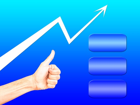 trend arrow, hand gesture OK and empty bars for text in marketing  presentation Stock Photo - 12311904
