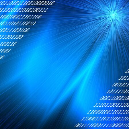 bit: blue rays binary codes background , internet or new technology conception Stock Photo