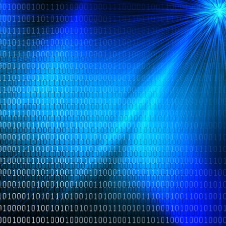 electronic mail: abstract blue background with binary digits pattern and light rays