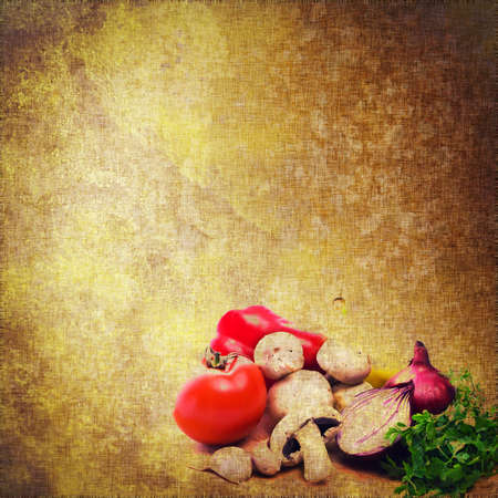grunge textile background with mix of vegetables painted photo