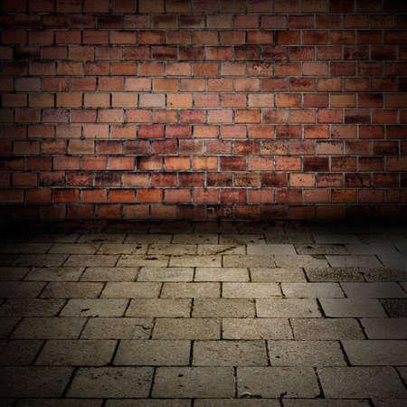Grunge brick wall with sidewalk floor interior background or texture photo