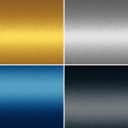 collection of four metal textures backgrounds - gold, blue, silver and black photo