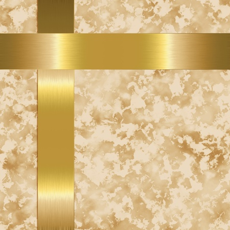 beige paper with gold metal bars photo