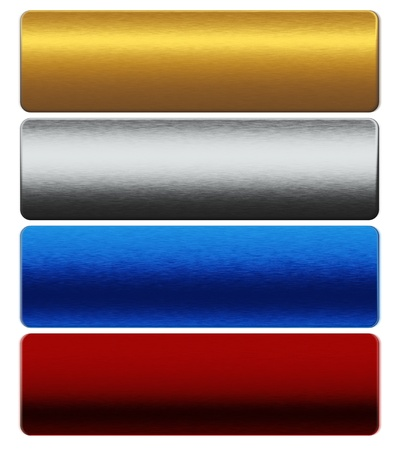 rejas de hierro: colección de barras de metal de oro, plata, azul, rojo Foto de archivo