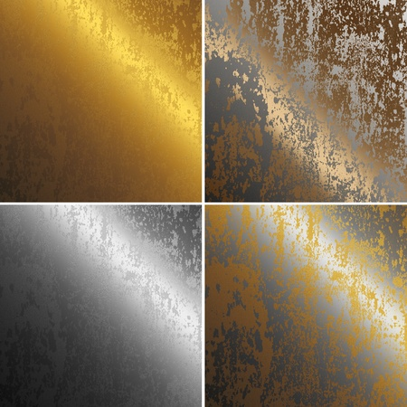 silver bar: rusty metal, copper, gold and silver collection Stock Photo