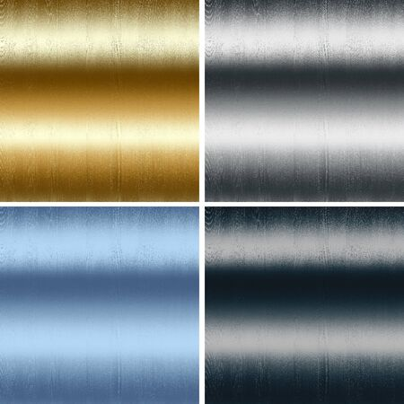 sandblasted: collection of four wet metal textures backgrounds - gold, blue, silver and black  Stock Photo