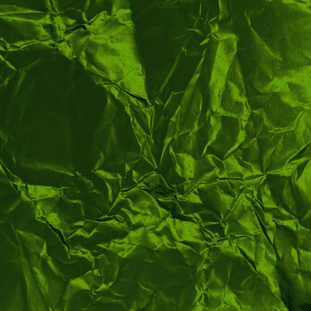 wrinkled paper: green crumpled metallic canvas texture