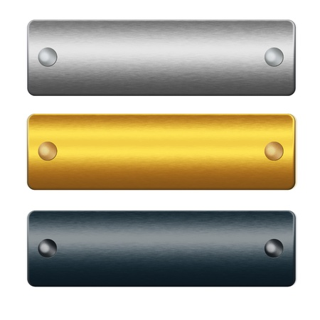 oxidized: metal boards with rivets, gold, silver and blue bars of metal ready to insert text or design Stock Photo