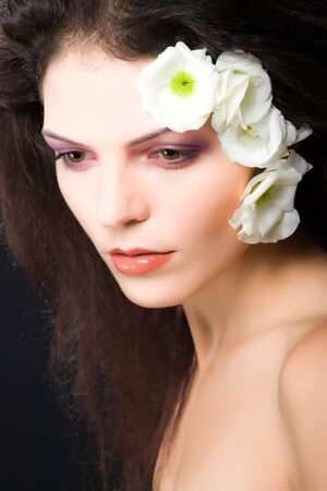 beauty girl face, portrait with flowers photo