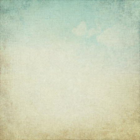 old parchment grunge background with delicate abstract canvas texture and blue sky view