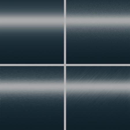 navy blue metal texture background metal plate collection with four different copy space patterns photo