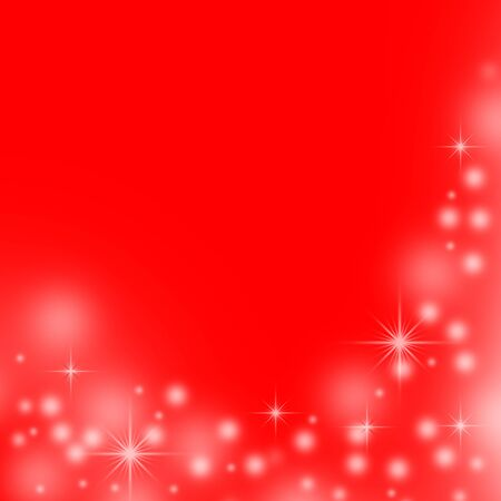 red christmas background with white snowflakes and stars  photo
