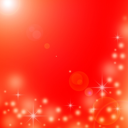 red christmas background with white snowflakes, stars and beam of light photo