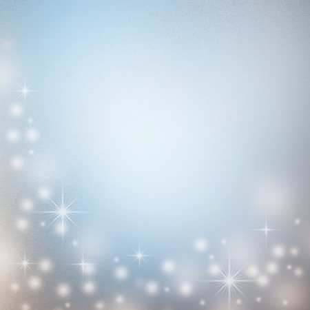christmas background with white snowflakes, sparkles in white and subtle blue colors and empty space for text photo