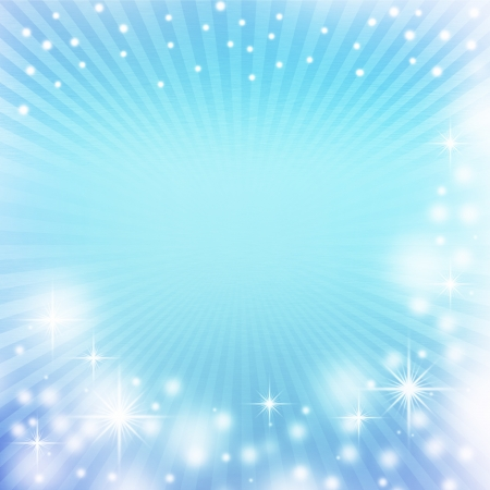 blue christmas background with rays of light, white snowflakes, sparkles and copy space for text photo