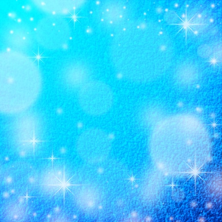 blue christmas background texture with snow flakes, round beams off light and delicate snow pattern photo