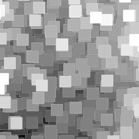 scattered: black and white mosaic tiles background or texture, pieces of paper Stock Photo