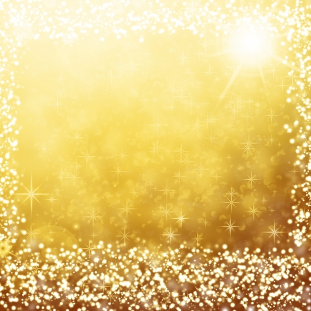 gold christmas background text frame with white stars, snow flakes, sparkles and copy space for text