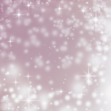 background di Natale con fiocchi di neve bianca, stelle, bokeh su sfondo viola delicato photo