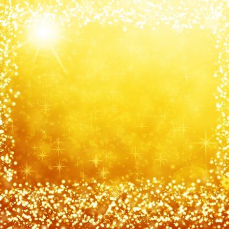 gold background, lights christmas background with stars, snow flakes and beam of light photo