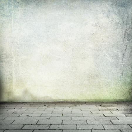green wall: grunge background old wall texture and sidewalk room interior without ceiling Stock Photo