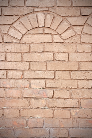 stone arch: old red brick wall texture background and vignette, arch element