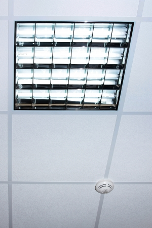 Fluorescent Lamp On The Modern Office Ceiling Photo