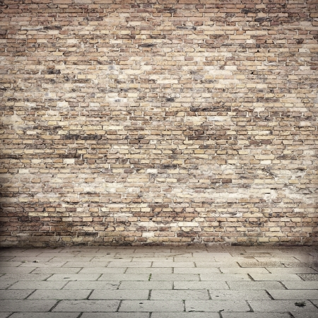 brick: grunge background, red brick wall texture bright plaster wall and blocks road sidewalk abandoned exterior urban background for your concept or project Stock Photo