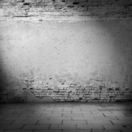 white wall texture: white wall background basement with beam of light, plastered wall and bricks