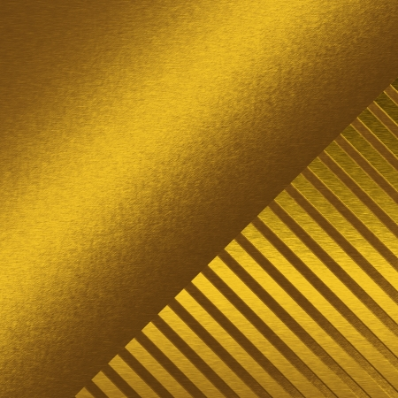 gold metal texture background with beam of light and oblique lines or bars in the corner photo