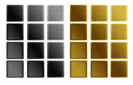 graphic elements push buttons or backgrounds templates in gold and silver colors, small metal plates isolated on white  photo
