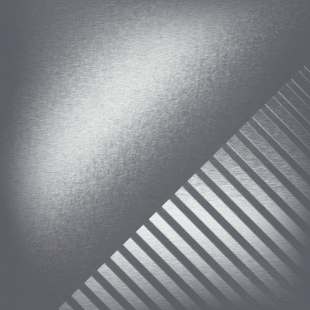 alluminum: chrome metal texture silver background and decorative stripe pattern in the corner  Stock Photo