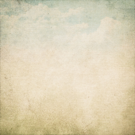 grunge background old canvas texture and dirty blue sky and white clouds view painting photo