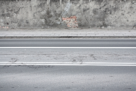 urban road, sidewalk and wall grunge background photo