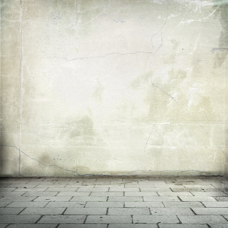 grunge background old street wall texture and sidewalk room interior without ceiling photo