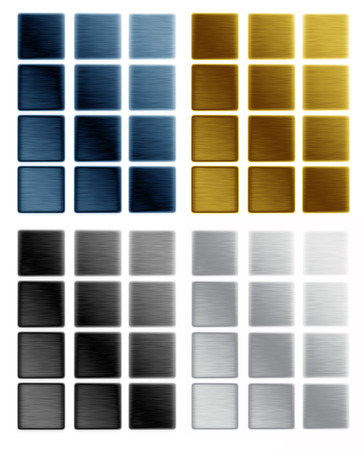 pushbutton: metal textures as push buttons templates or backgrounds, small metal plates isolated on white background Stock Photo