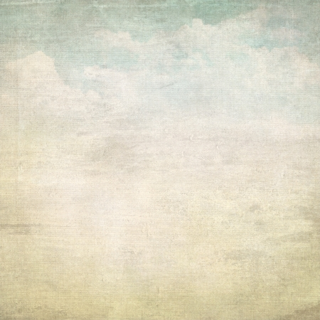 old paper landscape painting with blue sky and white clouds grid texture photo