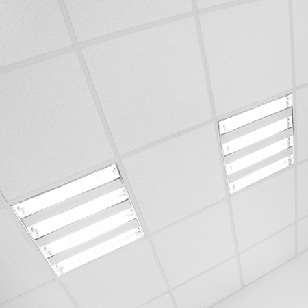 electric grid: fluorescent lamp lights on the white modern ceiling in the office