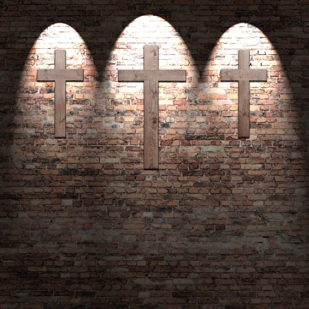 crosses on the red brick wall texture background and highlights, christian symbol photo