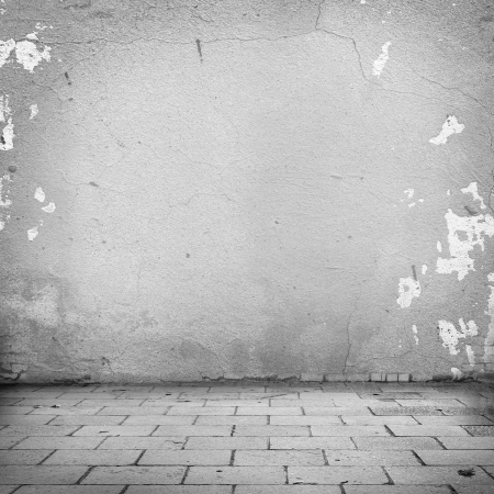 grunge background, white wall texture and blocks road sidewalk abandoned exterior urban background for your concept or project photo