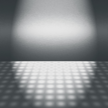 dance floor: silver metal wall texture disco scene with beam of light advertising background Stock Photo