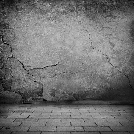 zwart en wit grunge achtergrond oude stenen muur textuur