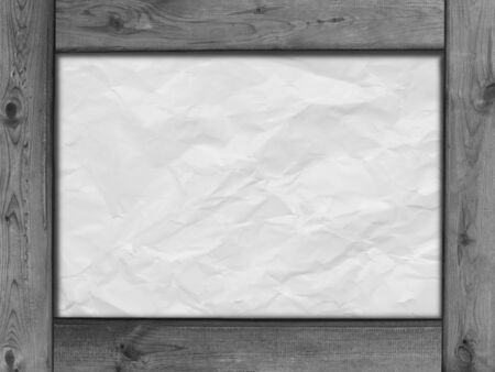 weathered wood: wood frame border and crumpled paper texture background in black and white Stock Photo